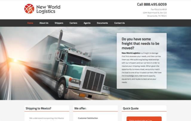 New World Logistics web site