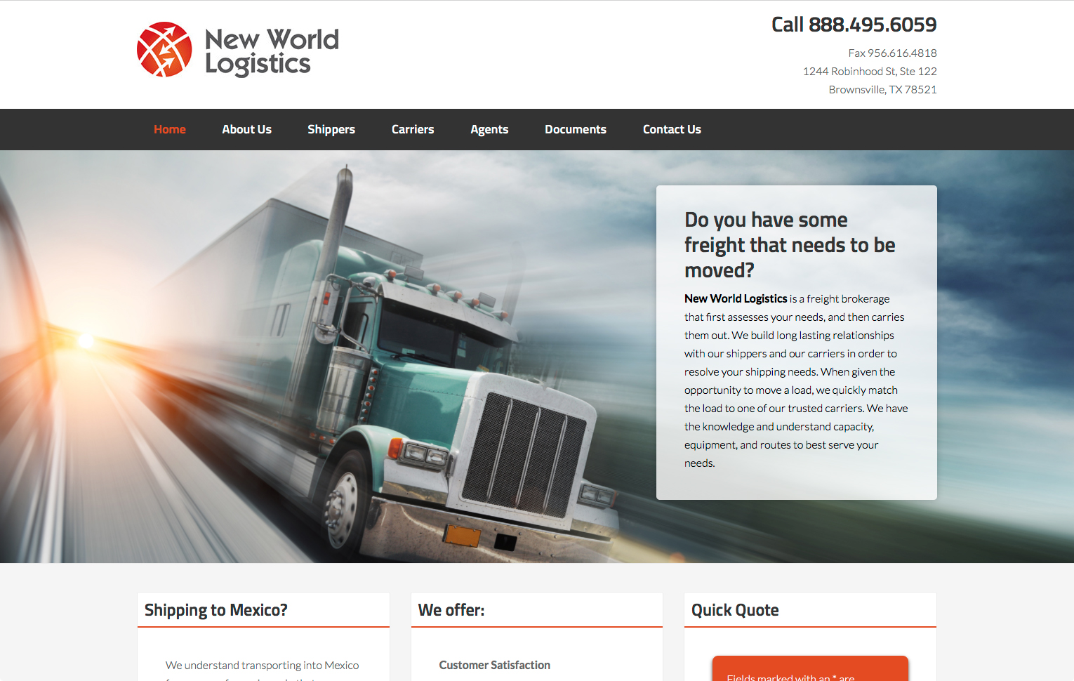 New World Logistics web site